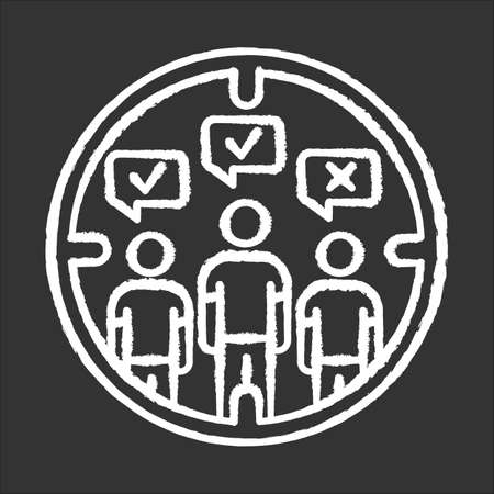 Survey target audience chalk icon. Public opinion. Focus group. Research. Customer satisfaction, review. Feedback. Data collection. Sampling. Sociology. Isolated vector chalkboard illustration