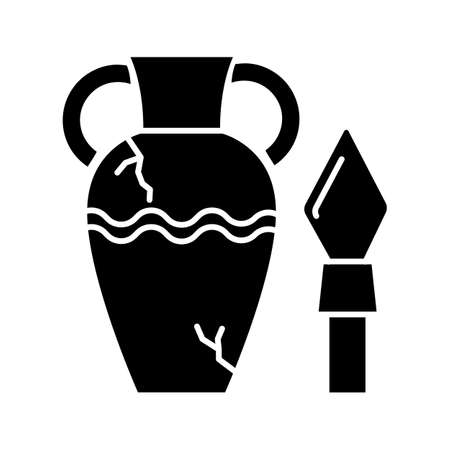 Ancient artifacts glyph icon. Greek amphora. Roman spear. Old culture. Historical discovery. Cracked clay vase. Spartan weapon. Silhouette symbol. Negative space. Vector isolated illustration Illustration