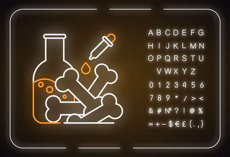 Laboratory analysis neon light icon. Archeological discoveries. Ancient bones. Lab examination. Paleontology. Glowing sign with alphabet, numbers and symbols. Vector isolated illustration 일러스트