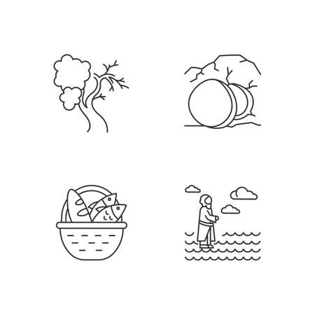 Bible narratives linear icons set. Fig tree, open coffin, bread and fish, Jesus walking on water. Easter week. Thin line contour symbols. Isolated vector outline illustrations. Editable stroke Vettoriali