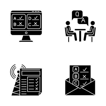Survey methods glyph icons set. Online, email, internet connection poll. Interview. Public opinion. Customer review. Feedback. Evaluation. Sociology. Silhouette symbols. Vector isolated illustration Векторная Иллюстрация