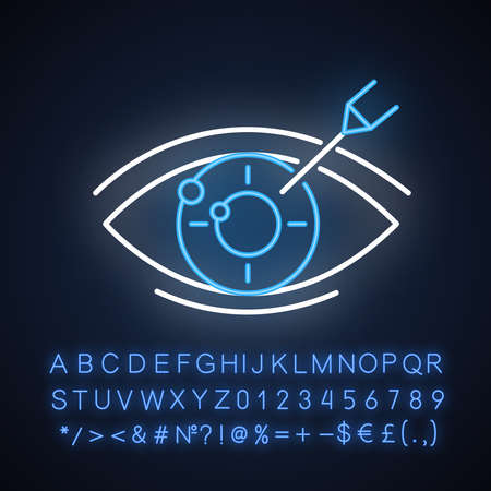Vision correction neon light icon. Medical procedure. Health care. Ophthalmology. Laser operation. Eye disorder recovery. Glowing sign with alphabet, numbers and symbols. Vector isolated illustration