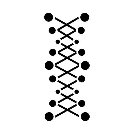 DNA double helix glyph icon. Connected dots, lines. Deoxyribonucleic, nucleic acid. Chromosome. Molecular biology. Genetic code. Silhouette symbol. Negative space. Vector isolated illustration