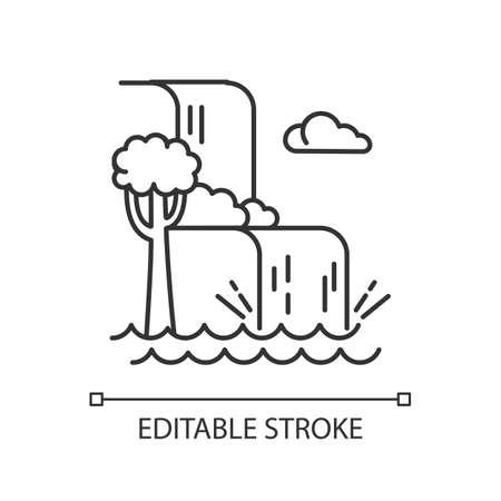 Icono lineal de paisaje de cascada. Vacaciones a Indonesia. Ríos de la selva tropical. Cascada de agua en la selva. Ilustración de línea fina. Símbolo de contorno. Dibujo de contorno aislado del vector. Trazo editable Ilustración de vector