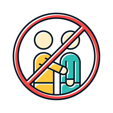 Avoid contact with people color icon. No human touch. Stop virus spread. Common cold. Influenza infection. Flu precaution. Healthcare. Epidemic prevention. Grippe caution. Isolated vector illustration