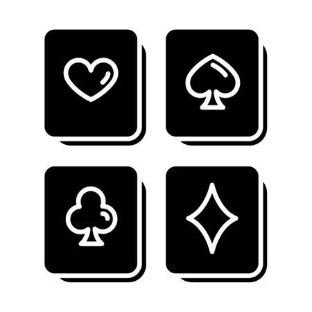 Playing cards puzzle glyph icon. Logic game. Mental exercise. Challenge. Ingenuity, intelligence test. Brain teaser. Solution finding. Silhouette symbol. Negative space. Vector isolated illustration