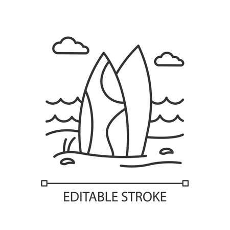 Surfboards on the beach linear icon. Surf sea waves. Indonesia ocean surfing activity. Water sport equipment. Thin line illustration. Contour symbol. Vector isolated outline drawing. Editable stroke