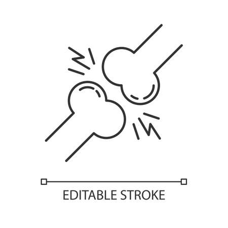 Joint pain linear icon. Knee injury. Wrist trauma. Strained muscle. Arthritis, osteoarthritis. Ligament spasm. Thin line illustration. Contour symbol. Vector isolated outline drawing. Editable stroke Vektorové ilustrace