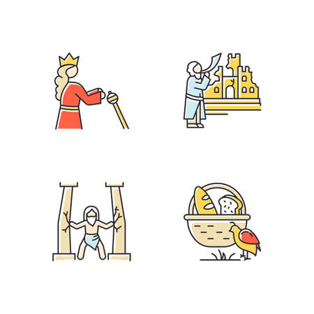 Bible narratives color icons set. Samson, manna and quail, The fall of Jericho myths. Religious legends. Christian religion, holy book scenes. Biblical stories plot. Isolated vector illustrations