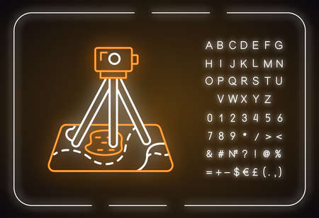 Field survey neon light icon. Research. Archeological examination. Digital tool on map. Topographic data gathering. Glowing sign with alphabet, numbers and symbols. Vector isolated illustration
