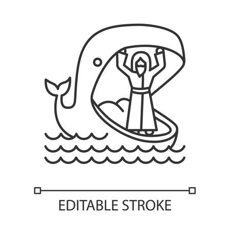 Jonah and whale linear icon. Old Testament story. Jonahs miraculous return from jaws of huge fish. Thin line illustration. Contour symbol. Vector isolated outline drawing. Editable stroke