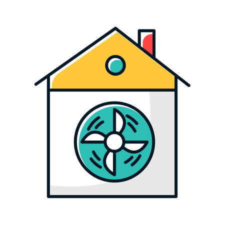 House ventilation color icon. Conditioning home. Clean germs and microbes. Dust ventilation system. Ventilator for clear air. Home cooling vent. Domestic fan. Isolated vector illustration Ilustrace