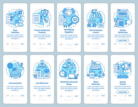 Local production onboarding mobile app page screen with linear concepts. Business launch and development. Entrepreneurship. Walkthrough steps instructions. UX, UI, GUI vector template, illustrations