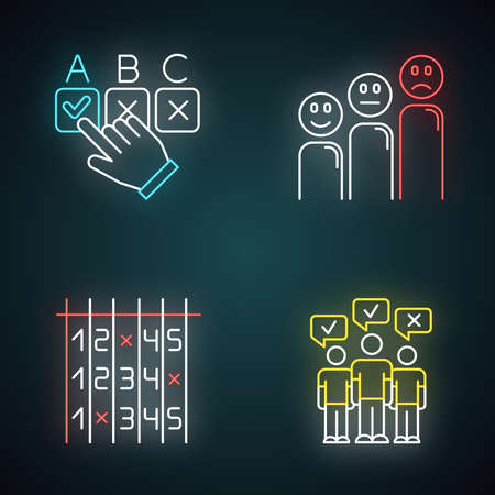 Ensemble d'icônes de néon d'enquête. Choisir la bonne option. Niveau de satisfaction client. Émoticônes. Sélectionnez le numéro. Liste de contrôle. Sondage de masse. Opinion publique. Vote. Signes lumineux. Illustrations vectorielles isolées