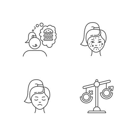 Predmenstrual syndrome linear icons set. Food craving. Acne and pimple. Hormonal disbalance. Thin line contour symbols. Isolated vector outline illustrations. Editable stroke. Perfect pixel