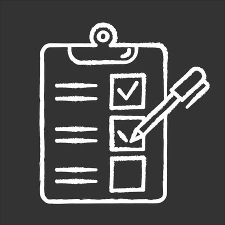 Survey questionnaire form chalk icon. Checklist. Customer service rating, review. Feedback. Evaluation. Social research. Data collection. Sociology. Isolated vector chalkboard illustration  イラスト・ベクター素材