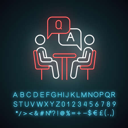 Personal interview survey neon light icon. Questions and answers poll. Social research. Customer satisfaction. Feedback. Glowing sign with alphabet, numbers and symbols. Vector isolated illustration
