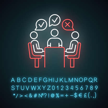 Group administered survey neon light icon. Opinion polling. Social research. Feedback. Customer satisfaction. Voting. Glowing sign with alphabet, numbers and symbols. Vector isolated illustration