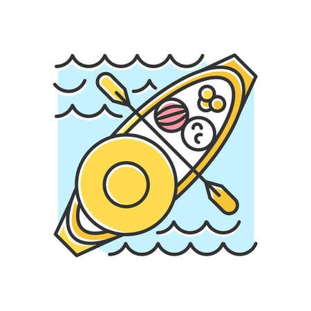 Icono de color de mercado flotante. Venta de productos y comida local desde barco. Tipo de comercio en Tailandia, Indonesia y Vietnam. El transporte acuático como atractivo turístico. Ilustración de vector aislado