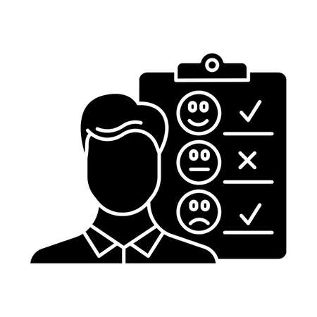 Personal interview glyph icon. Survey questionnaire form. Customer service rating. Feedback. Employee satisfaction. Emotional opinion. Silhouette symbol. Negative space. Vector isolated illustration  イラスト・ベクター素材