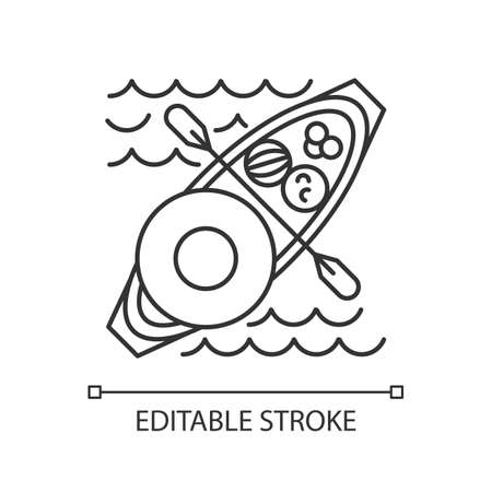 Floating market linear icon. Selling goods and food from boat. Type of trade in Thailand, Indonesia, Vietnam. Thin line illustration. Contour symbol. Vector isolated outline drawing. Editable stroke