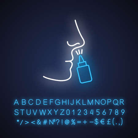 Drip nose neon light icon. Nasal disease. Flu and influenza virus. Common cold. Healthcare. Respiratory sprayer. Glowing sign with alphabet, numbers and symbols. Vector isolated illustration Ilustração