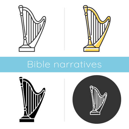 Psalms of David Bible story icon. Golden harp, sacred musical instrument. Religious legend. Christian religion. Biblical narrative. Glyph, chalk, linear and color styles. Isolated vector illustrations Vektorové ilustrace