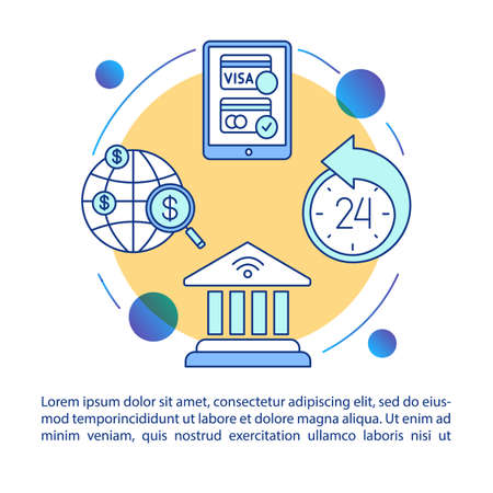 Mobile banking concept icon with text. Manage accounts from mobile device. Global money transfers. Article page vector template. Brochure, magazine, booklet design element with linear illustrations