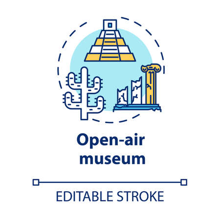 Open-air museum concept icon. Historical architecture exhibition. Temple ruins and colonnade. Archeological exposition idea thin line illustration. Vector isolated outline drawing. Editable stroke