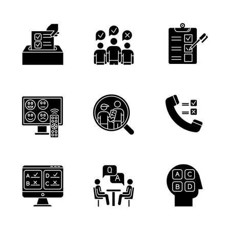 Survey methods glyph icons set. Telephone, online poll. Rating. Interview. Public opinion. Customer satisfaction, review. Feedback. Evaluation. Silhouette symbols. Vector isolated illustration