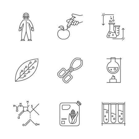 Science linear icons set. Biotechnology equipment. Experiment method. Work in lab. Changing nature. Organic chemistry. Thin line contour symbols. Isolated vector outline illustrations. Editable stroke