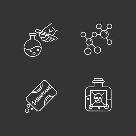 Science development chalk icons set. Biotechnologies products. Artificial sweetener. Working in laboratory. Producing chemicals. Organic chemistry research. Isolated vector chalkboard illustrations