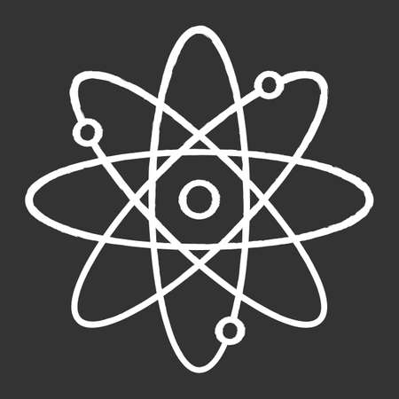 Molecule atom chalk icon. Nuclear energy source. Atom core with electrons orbits. Science symbol. Quantum physics. Model of particle. Organic chemistry. Isolated vector chalkboard illustration?