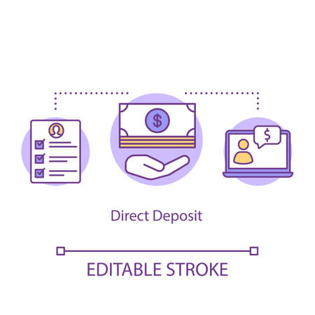 Direct deposit concept icon. Electronic payment idea thin line illustration. Bank account transaction. Money transfer. Banking. Vector isolated outline drawing. Editable stroke
