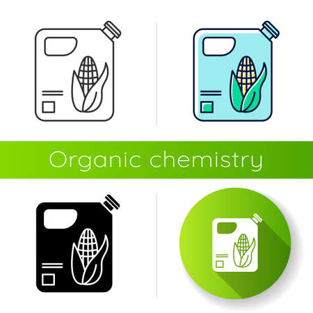 Plastic bottle of corn oil icon. Organic chemistry. Vegetable oil produce. Corn ethanol for biofuel. Gasoline substitute. Flat design, linear, black and color styles. Isolated vector illustrations