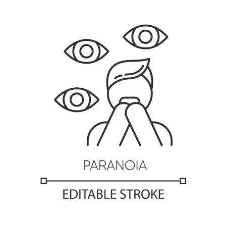 Paranoia linear icon. Panic attack. Scared person. Fear and phobia. Stress and anxiety. Mental disorder. Thin line illustration. Contour symbol. Vector isolated outline drawing. Editable stroke