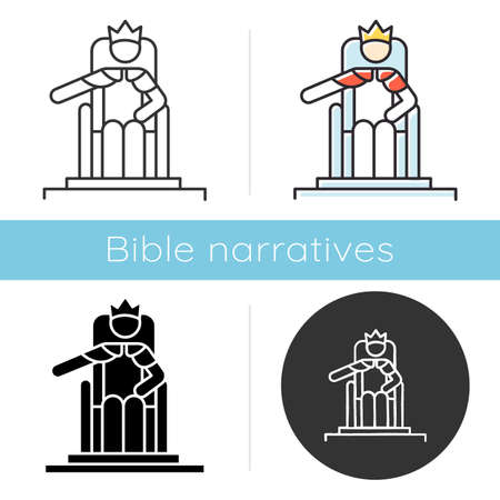 Wise Ruling Solomon Bible story icon. Jerusalem king sitting on throne. Religious legend. Biblical narrative. Glyph, chalk, linear and color styles. Isolated vector illustrations