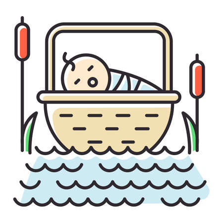The Birth of Moses Bible story color icon. Newborn in basket. Hebrew prophet Religious legend. Christian religion, holy book scene plot. Exodus Biblical narrative. Isolated vector illustration