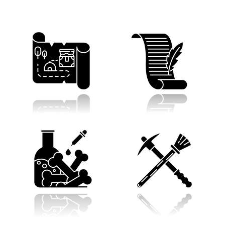 Archeology drop shadow black glyph icons set. Treasure map. Ancient manuscript. Laboratory research. Restoration equipment. Pickaxe and brush. Poetry, letter. Isolated vector illustrations