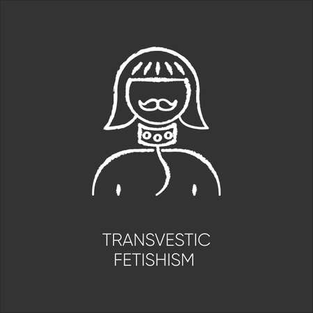 Transvestic fetishism chalk icon. Queer. Androgynous man. Drag crossdressing. Erotic interest in transgender. Paraphilia. Sexual deviation. Mental disorder. Isolated vector chalkboard illustration