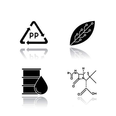 Science and nature drop shadow black glyph icons set. Biotechnology and nanotechnology products. Recycling materials. Working in laboratory. Microbiology scientists. Isolated vector illustrations