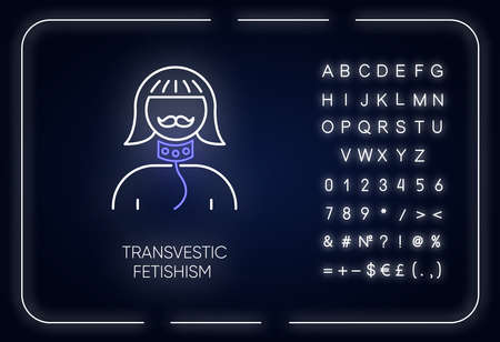 Transvestic fetishism neon light icon. Erotic interest in transgender. Paraphilia. Sexual deviation. Mental disorder. Glowing sign with alphabet, numbers and symbols. Vector isolated illustration