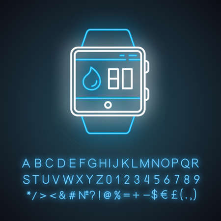Water balance tracking smartwatch function neon light icon. Fitness wristband. Hydration remindings and measurements. Glowing sign with alphabet, numbers and symbols. Vector isolated illustration