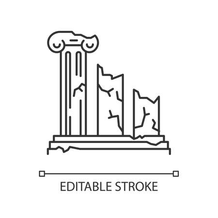 Ancient ruins linear icon. Broken columns. Greek pillars. Lost cities. Archeology. Historical monuments. Thin line illustration. Contour symbol. Vector isolated outline drawing. Editable stroke
