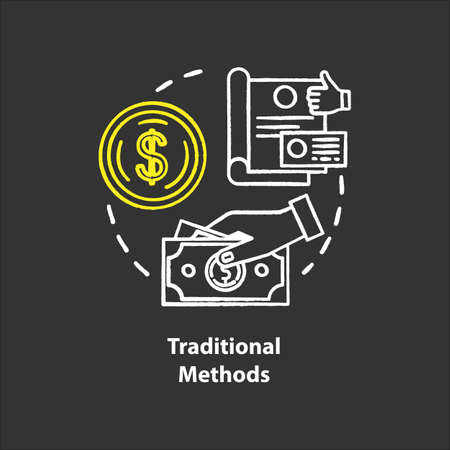 Traditional payment methods chalk concept icon. Payment with physical money idea. Cash and coins. Cheque. Currency. Retailing. Vector isolated chalkboard illustration 일러스트