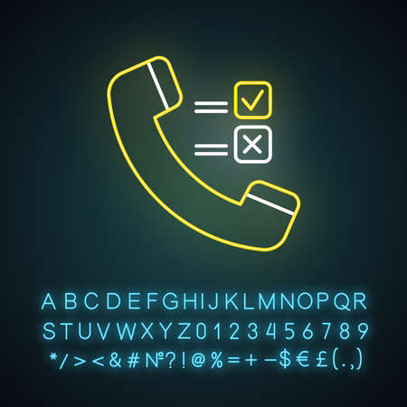 Telephone survey neon light icon. Social research. Opinion poll. Consumer, customer satisfaction. Feedback. Evaluation. Glowing sign with alphabet, numbers and symbols. Vector isolated illustration