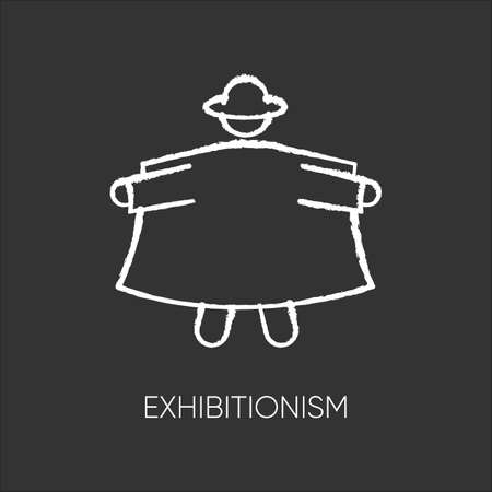 Exhibitionism chalk icon. Nude body exposure. Pervert in open coat. Deviation and perversion. Inappropriate behaviour. Paraphilia. Mental disorder. Isolated vector chalkboard illustration