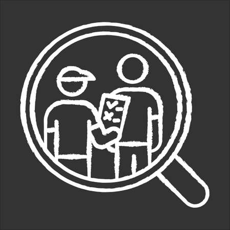 Personal interview survey chalk icon. Face-to-face poll. Social research. Customer satisfaction. Feedback. Evaluation. Data collection. Sociology. Isolated vector chalkboard illustration Векторная Иллюстрация