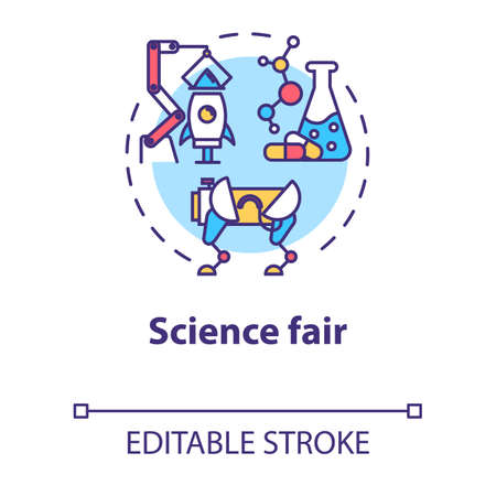 Science fair concept icon. Technology development. Chemistry project. Robotics. University competition idea thin line illustration. Vector isolated outline drawing. Editable stroke