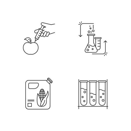 Science and nature linear icons set. Experiment method. Work in laboratory. Microbiology scientist. Organic chemistry. Thin line contour symbols. Isolated vector outline illustrations. Editable stroke Illustration
